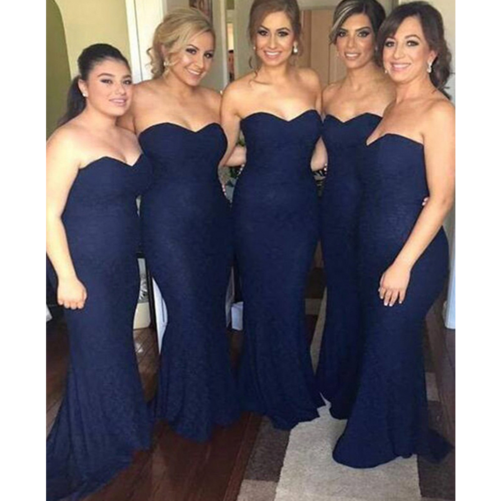 Navy Blue Simple Mermaid   Bridesmaid     Dresses   Sweetheart Floor Length Elastic Satin Long Maid Of Honor   Dress   2019 Cheap Party Gown