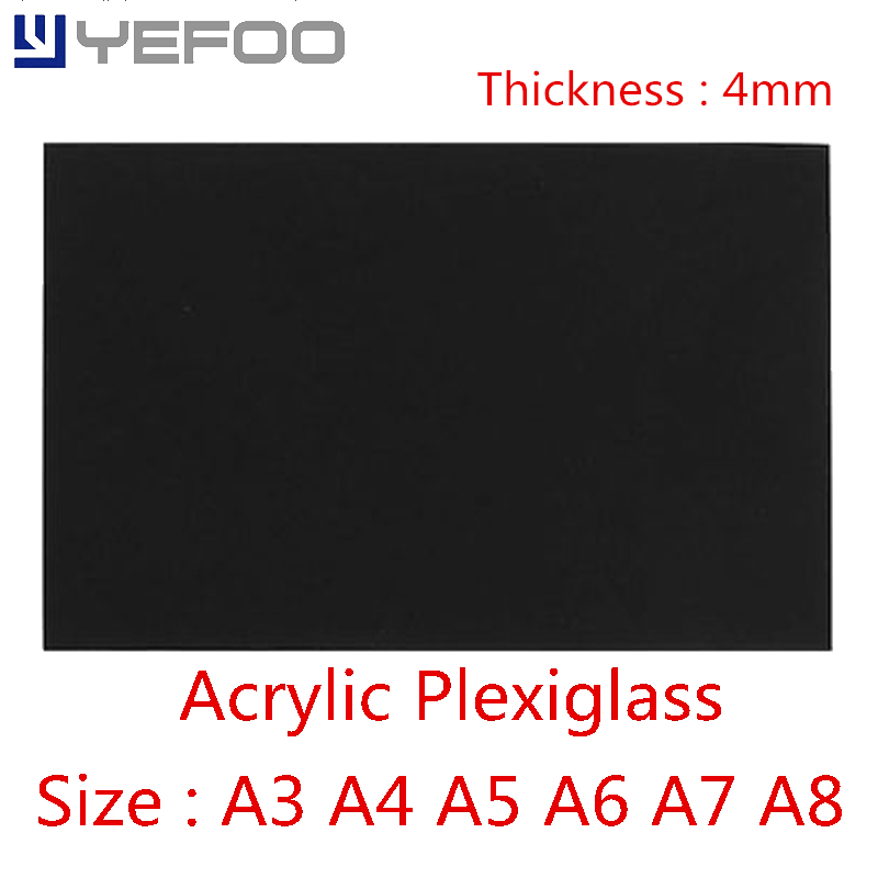 4mm Black Plastic Acrylic For Plexiglass Perspex Sheet PMMA Plast A3 A4 A5 A6 A7 A8 1mm 2mm 3mm 4mm 5mm 6mm 7mm 8mm 148mm*210mm 210 297mm customized table display card pmma acrylic material environmental t shape label frame for meeting business 170309 a7