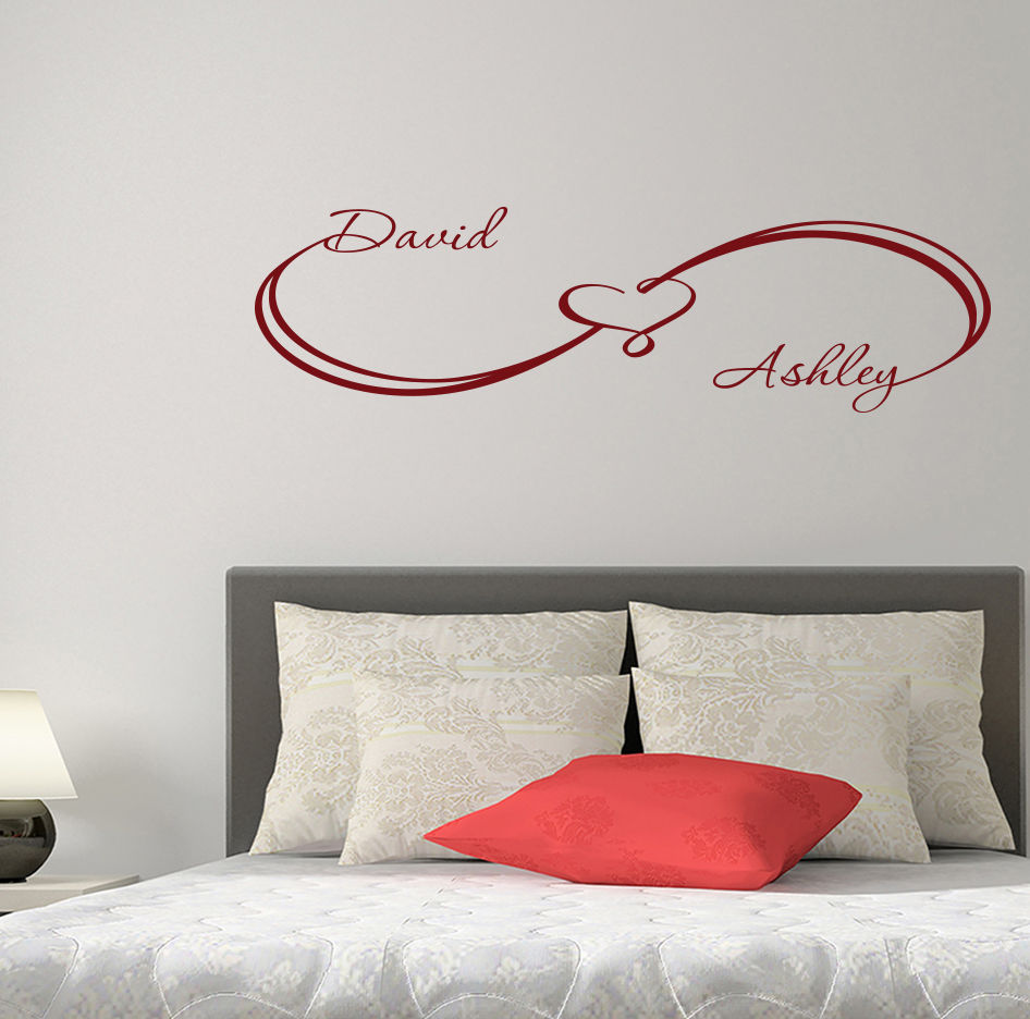 hwhd fashion custom wall decals infinity sign heart decal family names sticker bedroom os1478 free shipping