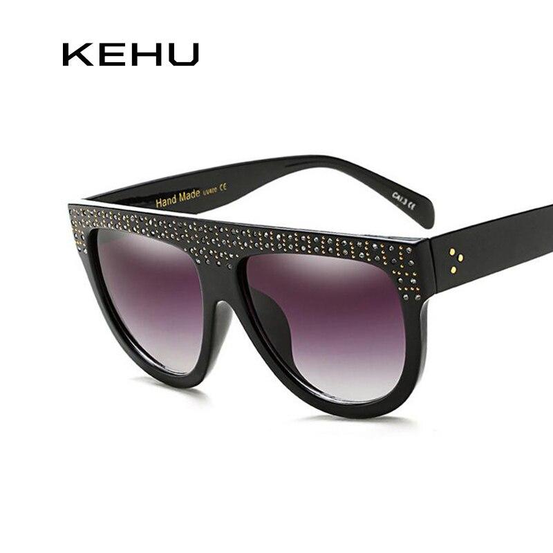 KEHU Brand Design New Fashion Sunglasses Woman Flat Top Frame Women Sunglasses Retro Rhinestone Frame Classic Glasses K9172