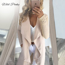 WildPinky Office Lady Elegant Turn Down Collar Spliced Knee Length Trench Coat 2019 Spring Casual Fashion Women Coats Outerwear