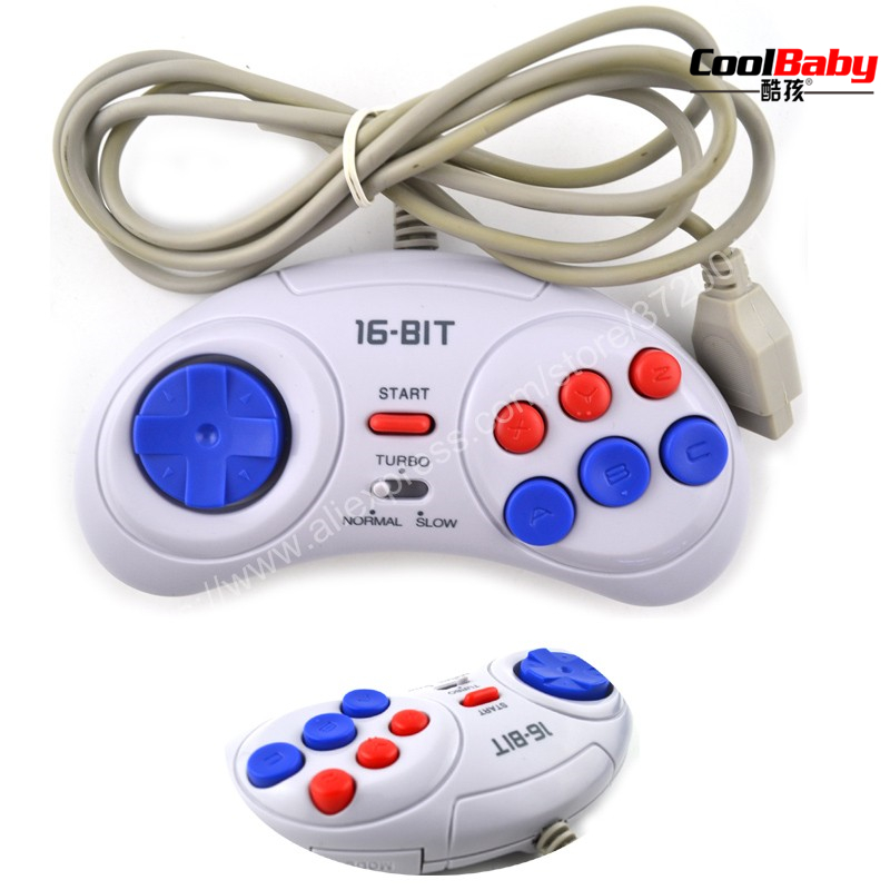 2pcs 16 bit Classic Wired Game Controller for SEGA Genesis 6 Button Gamepad for SEGA Mega Drive Mode Fast Slow white
