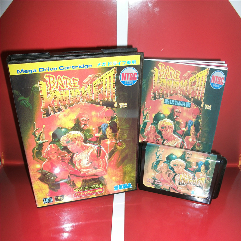 MD games card Bare Knuckle 3 Japan Cover with Box and Manual for MD MegaDrive Genesis