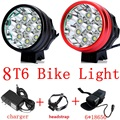 8T6 bicycle light 12000 Lumen 8xCree XML T6 bike lamp LED Bicycle headLight with 8.4v 18650 8800mAh Battery Pack + Charger