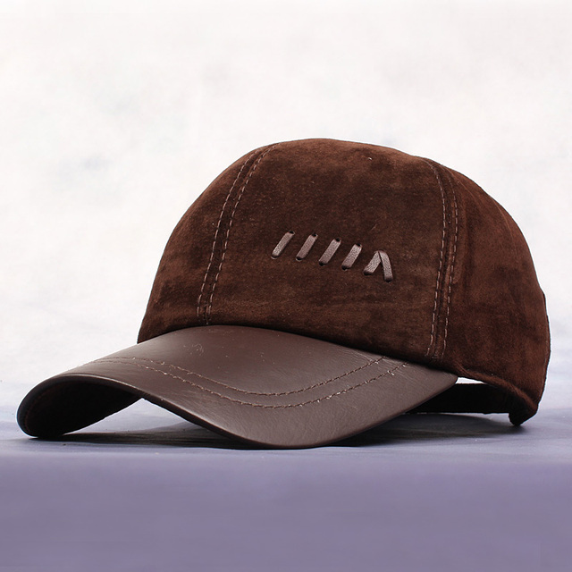New Men'S Brown Matte Pu Leather Hat High Quality Anti-Cashmere Baseball Caps Adjustable Snapback Hats