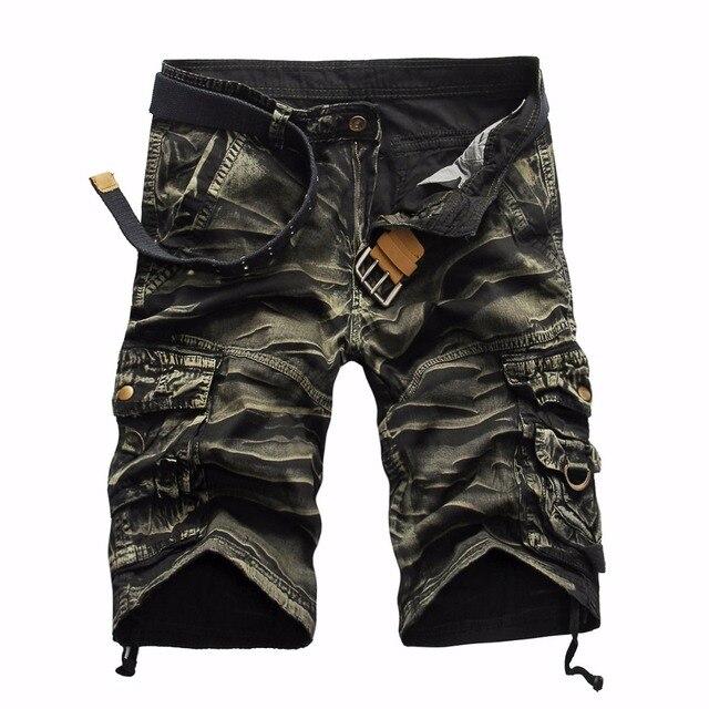 Летние мужские камуфляжные комбинезоны Штаны большой размер в стиле милитари Мульти-карман свободные на молнии рабочие Штаны Повседневное бриджи