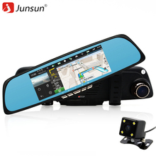 Junsun Car DVR Camera Mirror Android GPS navigation Rearview Mirror with two Cameras Vehicle Blackbox dvr video recorder