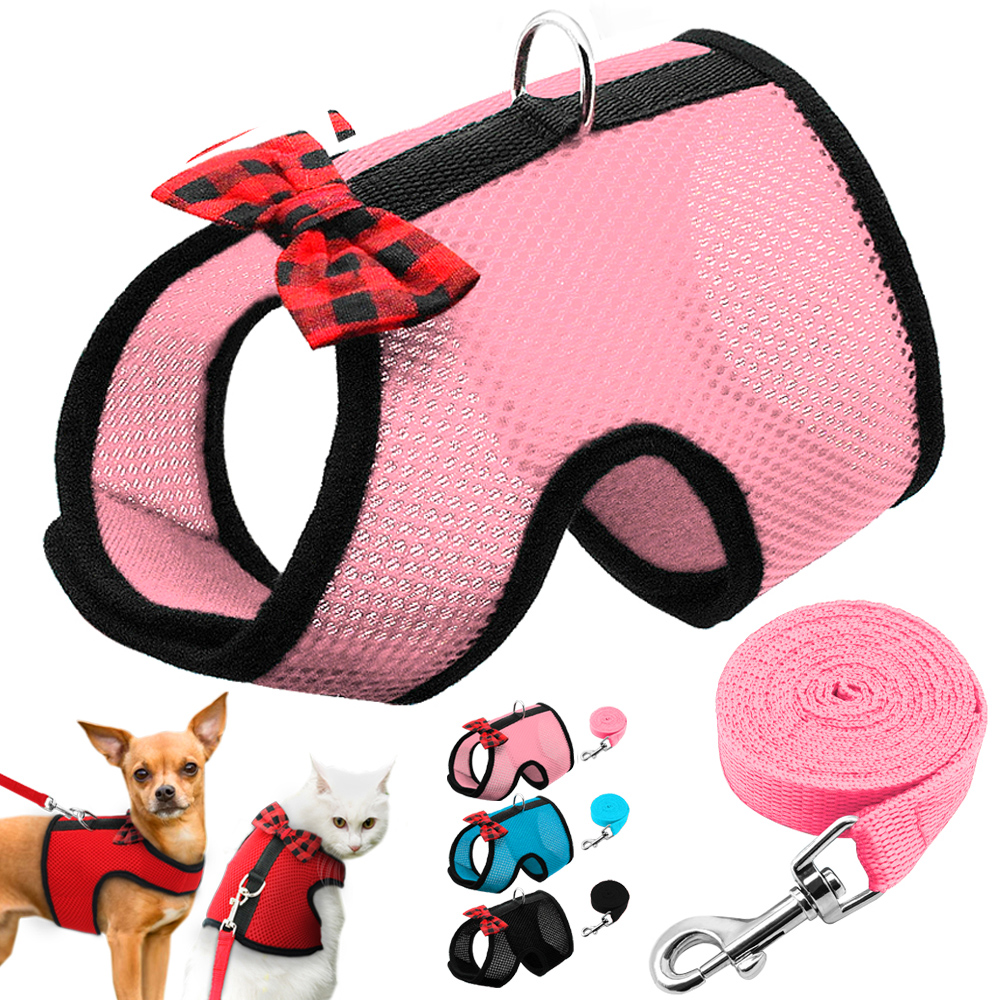Breathable Small Cat Dog Harness Vest Adjustable Bowtie Nylon Mesh Puppy Kitten Harness Leash Set For Hamster Rabbit Chest Strap