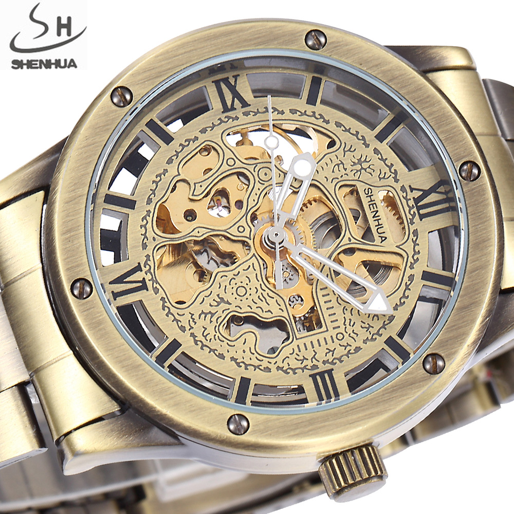 SHENHUA Luxury Brand Bronze Men Skeleton Mechanical Watches Male Clock Stainless Steel Strap Fashion Casual Automatic Watch shenhua luxury brand steampunk stainless steel clock male gold skeleton wristwatch men fashion dress automatic mechanical watch