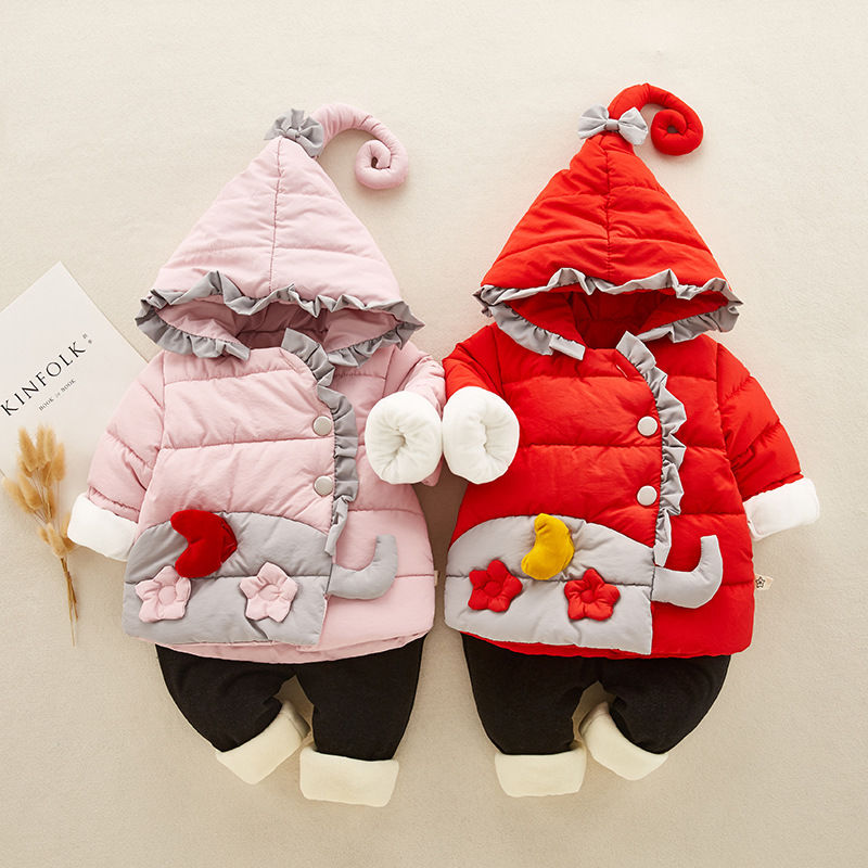 Winter Baby Girl Clothes Set Kids Clothing Sets Thick Warm Baby Coats Pants 2Pcs Kids Suits Flower Toddler Baby Clothes Outfits baby boys fashion suits 2017 winter fleece coats rabbit tops pants kids outfits 2pcs set suits children s warm clothing sherry