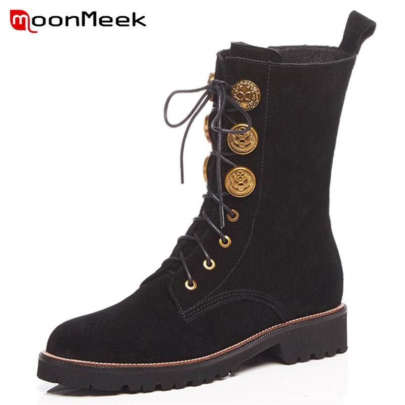 MoonMeek HOT 2018 fashion cow suede leather boots round toe ankle boots women square med heels zipper lace up winter bootsMoonMeek HOT 2018 fashion cow suede leather boots round toe ankle boots women square med heels zipper lace up winter boots