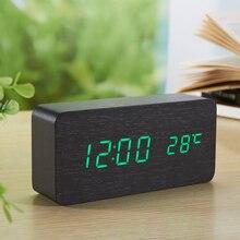 Antique Desktop Clocks With Three Alarm Group LED Silent Clock Digital Watch Board Bedroom Wooden Bamboo Despertador Home Decor