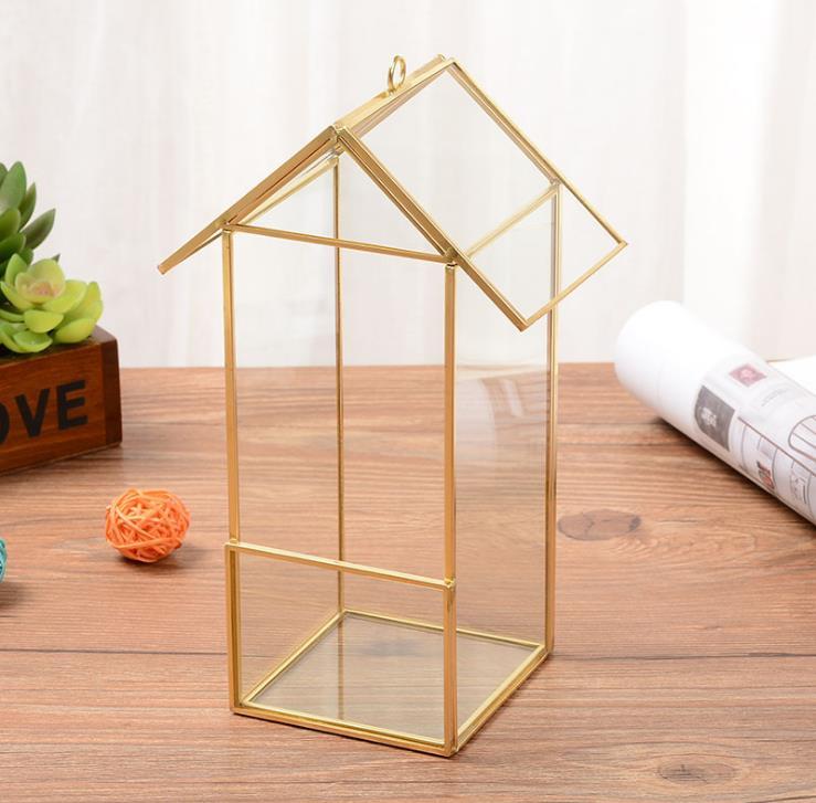 Accueil géométrique verre petite maison de fleurs immortelle fleur micro paysage ménage artisanat ornements accessoires boîtes