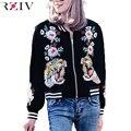 RZIV 2016 женщины повседневная тигр розы вышитые куртки