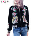 RZIV 2016 women casual tiger roses embroidered jacket