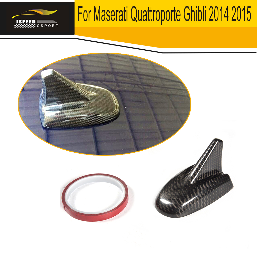 Fiber de carbone Voiture Toit Requin style Antenne émetteurs récepteurs Couverture Garniture pour Maserati Quattroporte Ghibli 2014 2015