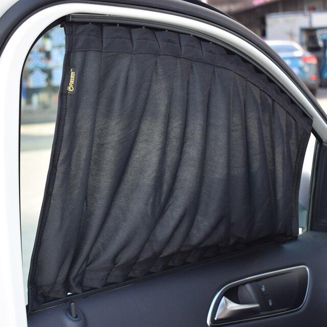 2 x 50l rekbaar aluminium rail car side window zonnescherm gordijn auto window zonneklep met elastische
