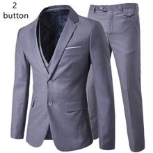 Пиджак + брюки + жилет, комплекты, мужские деловые повседневные костюмы из 3 предметов, мужской костюм на одной пуговице, блейзеры, пальто + брюки + жилет