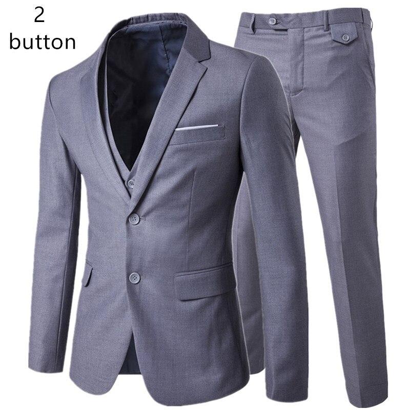 Veste + pantalon + gilet ensembles décontracté 3 pièces costumes/hommes un bouton costume blazers manteau + pantalon + gilet