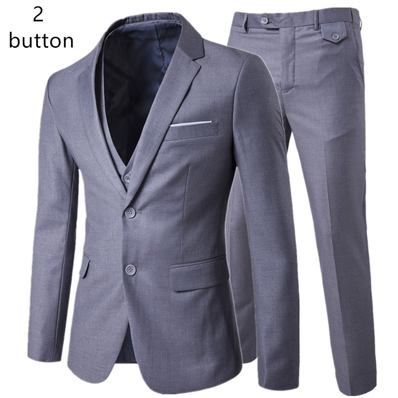 jacket + pants + vest sets / man's business casual 3 pieces suits / men's one button suit blazers coat + trousers + waistcoat