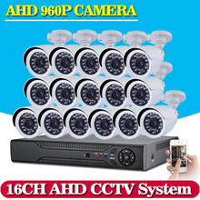 Home 16CH CCTV System 1080N AHD CCTV DVR System HD 16PCS CCTV Cameras 1.3 Megapixels Enhanced IR Security Camera 1TB HDD