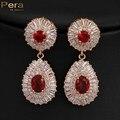 Роскошный Позолоченный Большой Круглый Красный CZ Имитация Алмазный Дубай Свадебные Серьги Ювелирные Изделия Аксессуары Для Невест E131