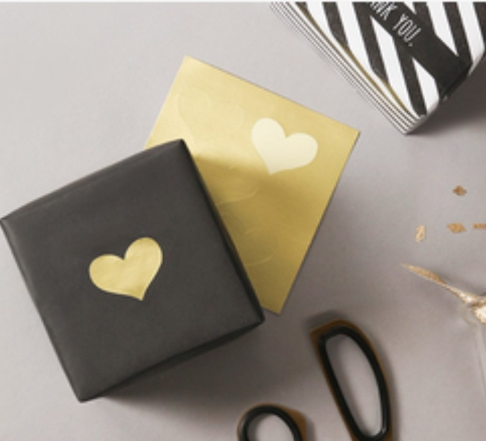 120Pcs Golden Heart Gold 3.5CM*2.5CM Handmade Cake Candy Packaging Sealing Label Sticker Baking DIY Gift Party Stickers M1246