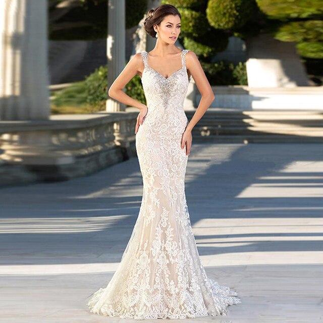 LORIE Mermaid Wedding Dresses 2019 Sweetheart Neck Backless Lace Bride dress White Ivory vestido de casamento Custom made 1