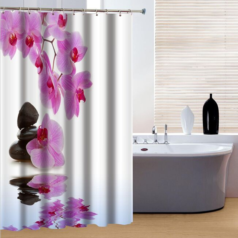 Purple Flower Design Bathroom Shower Curtains With Hooks Accessories Bath Curtain Hot