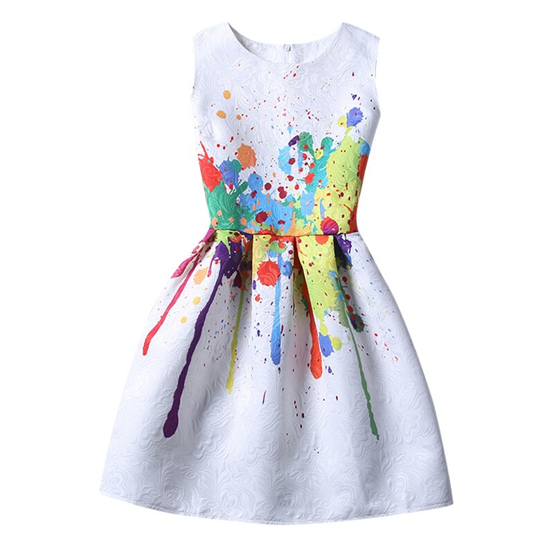 2018 Girls Dress Summer Butterfly Floral Print Teenagers Dresses for Girls Designer Formal Party Dress Kids Vestido 6-12Y Clothe