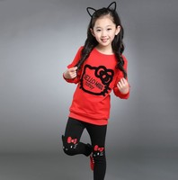 New Autumn Girl Clothes Sets Cartoon Lovely Embroidery Children Tracksuit Kid Clothing Suit Toddler Sweatshirts Pants