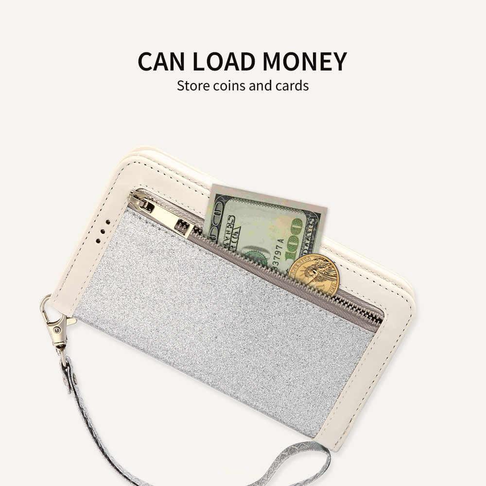 KISSCASE блестящий кожаный чехол на молнии для samsung Galaxy S10 Plus S9 S8 S7 Edge Note 9 8 A6 2018 Чехол-бумажник с откидной крышкой для телефона