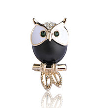 Blucome Mini Owl Brooches For Women Man Coat Sweater Accessories Crystals Broches Hijab Scarf coruja gufo Corsage spille Joyas(China)