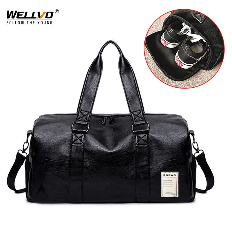 Men PU Leather Bag Male Big Crossbody Bags For Duffle  Handbags Travel Shoulder Luggage Bag With Shoes Storage New XA102WC