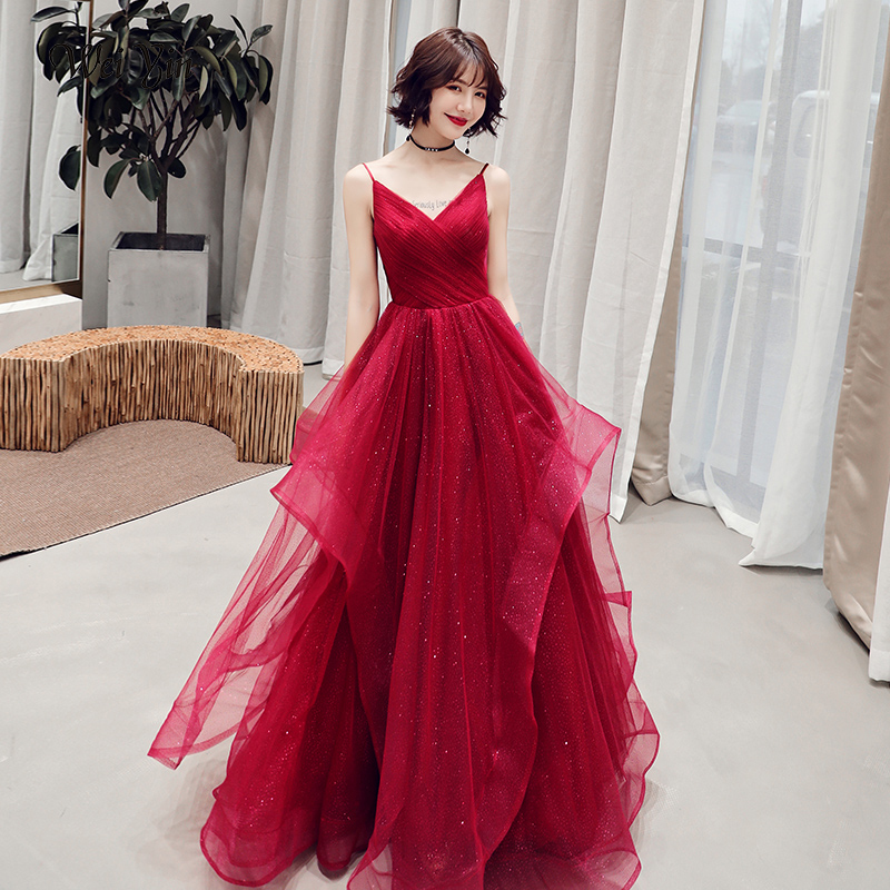 wei yin 2019 Simple Wine Red   Evening     Dresses   Long Spaghetti Tulle Pleats Party   Evening     Dress   Vestido De Festa WY1747
