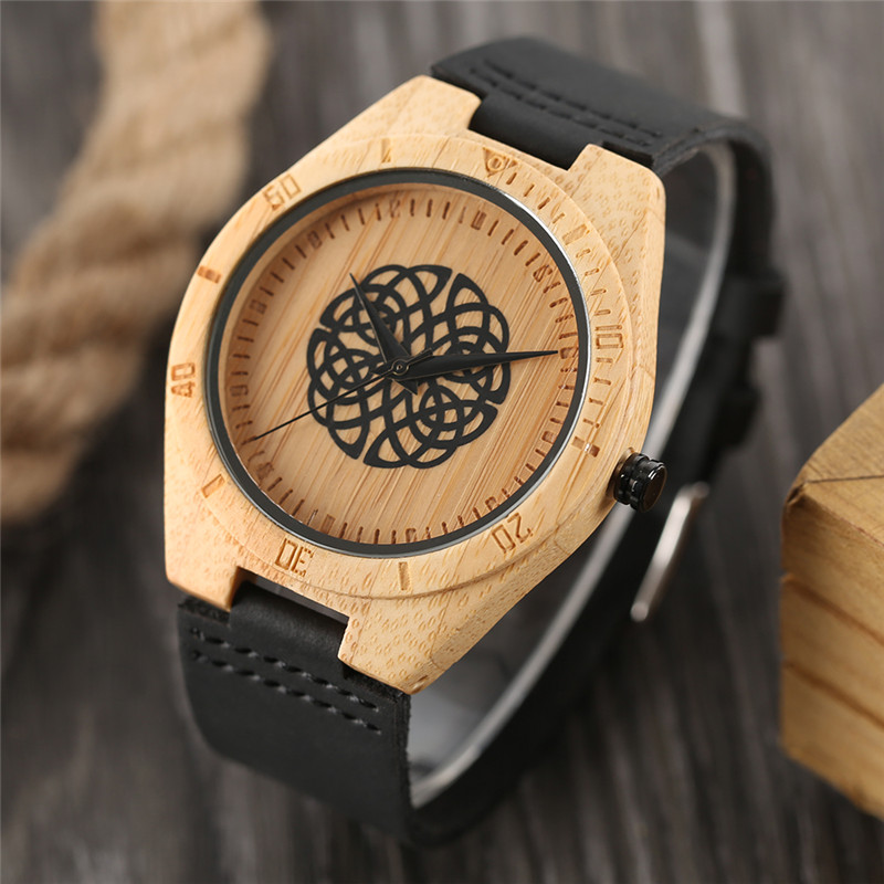 Unique Nature Bamboo Watch Quartz Wristwatch Genuine Leather Band Unisex Charming Pattern Chic Design Modern Simple Relogio hand made mens wooden bamboo quartz watch black genuine leather watchband simple unique modern wristwatch gift for male female