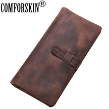 New Arrival Crazy Horse Cow Leather Men Wallet 2017 Brand Designer Vintage Long Long Hasp Zipper Wallet Clutch Bags Card Wallet  tauren first layer cow genuine leather wallet men bifold zipper crazy horse leather clutches retro long brand hand bag
