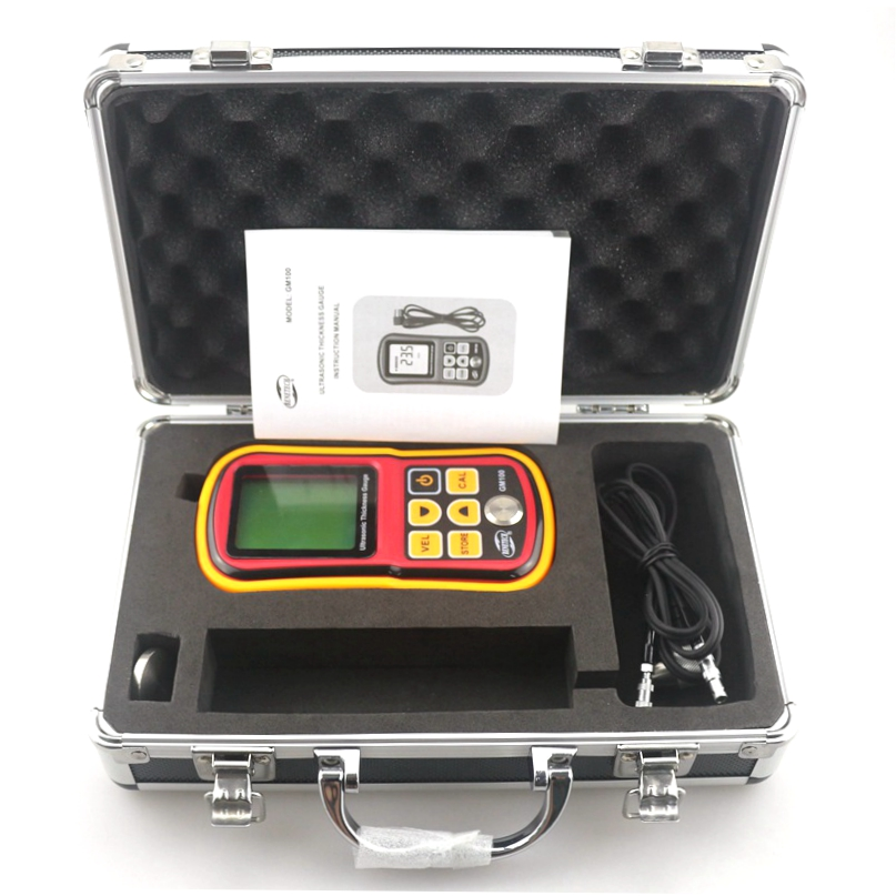 GM100 Digital Thickness Gauge Ultrasonic Tester LCD 1.2~225mm Sound Velocity Measurement Paint Coating Retail Box new digital paint coating thickness