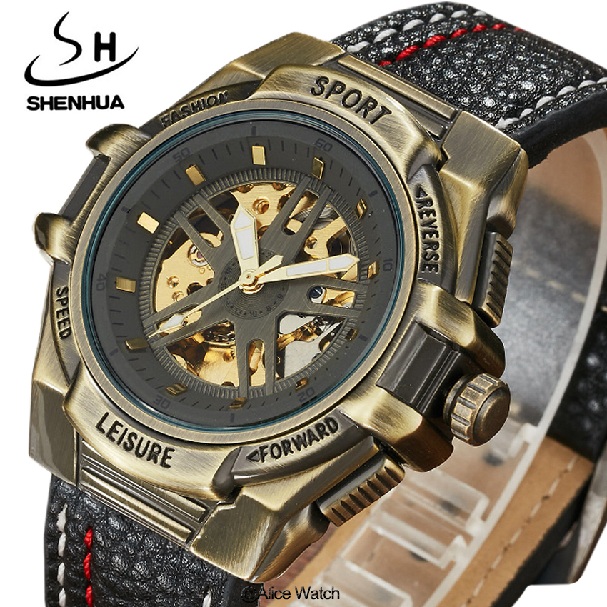 SHENHUA Mens Mechanical WristWatches Gift Luxury Leather Steampunk Casual Automatic Skeleton Mechanical Watch Relogio Masculino luxury brand shenhua steampunk transparent skeleton crystal flywheel automatic genuine leather strap dress mens mechanical watch