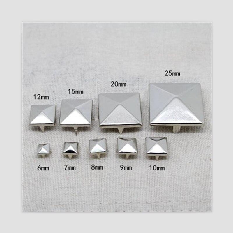 Pinzas de pirámide plateadas para tachuelas y clavos cuadrados de cuero para ropa tachuelas y remaches punk remaches para cuero