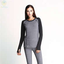 2016 Women Thickened Keep Warm Basic Long Sleeve Sports T-Shirt Gym Polyester Tops Tees Fitness Running Yoga Gray Sweatshirt