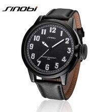 SINOBI Men Dress Watches 2016 New Brand Quartz Watch Genuine Leather Dress Big Dial Wristwatches Fashion Casual Watches AA237