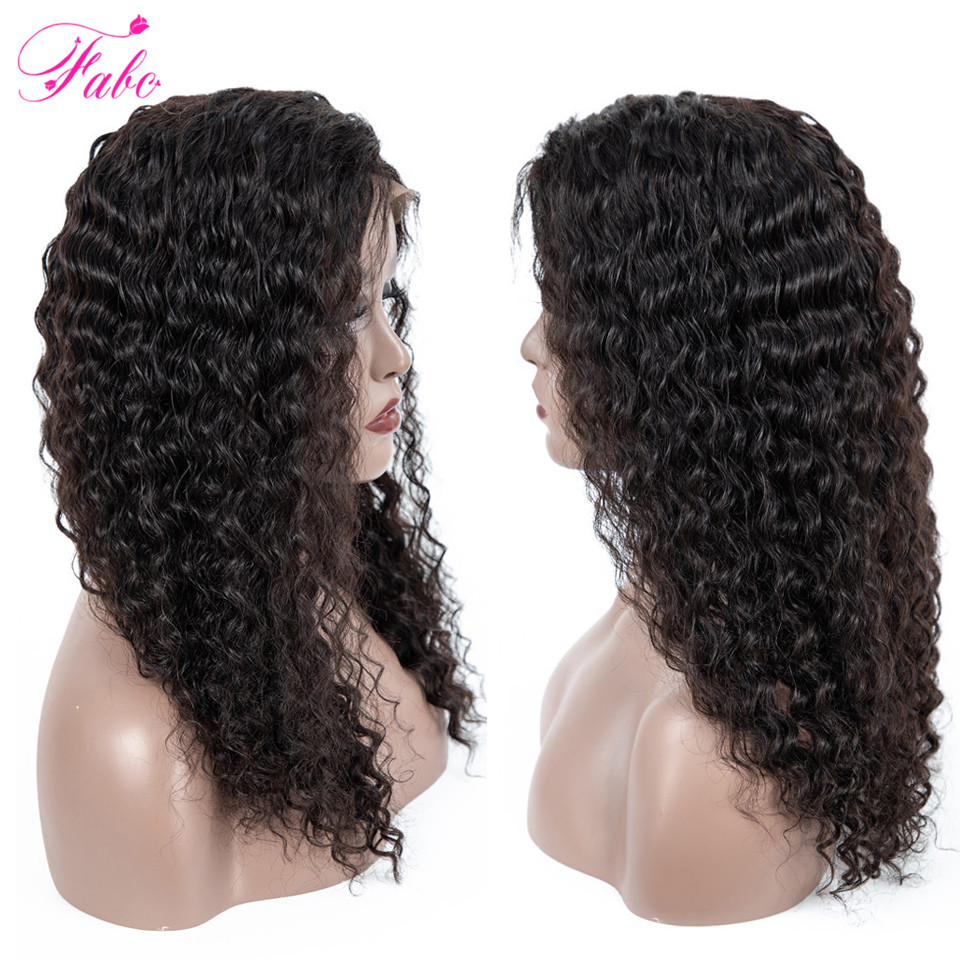 FABC Hair Peruvian Deep Wave Lace Frontal Wigs Natural Black Remy Human Hair Wig 13x4 150% Density Long Lace Frontal Wig-in Human Hair Lace Wigs from Hair Extensions & Wigs    1