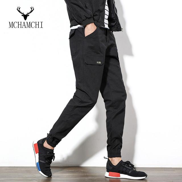 MCHAMCHI 2017 Nueva Casual Bolsillos Pies Delgados Pantalones Harén Pantalones Delgados hombre de hip hop danza pantalones frescos de color sólido más el tamaño 5xl
