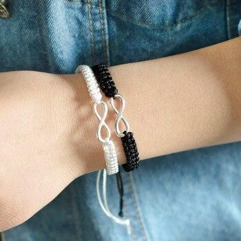 bracelet de couple distance noir et blanc