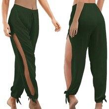 Plus Size Women Summer Causal Hollow Out Beach Trousers Loose Dance Wide Leg Pants Elastic Waist Open Side High Split Trousers split side tie waist plaid wide leg pants