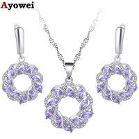 Ayowei высокого класса 925 Серебро Фиолетовый Кристалл инкрустированные серьги/цепочки и ожерелья/Подвеска/Модный свадебный подарок JS804A