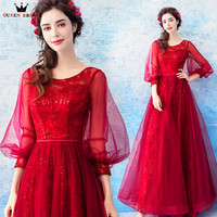 A Line 3 4 Sleeve Lace Tulle Red Luxury Long Formal Evening Dresses 2018 New Design