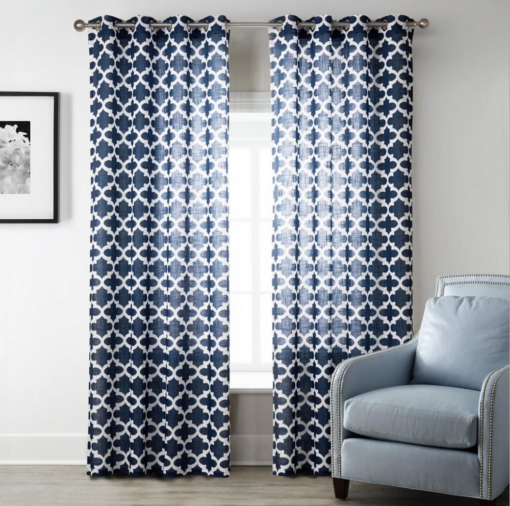 Sunnyrain 1 Piece Navy Blue Geometric Sheer Curtains For