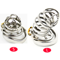 Prison Bird Male Stainless Steel Cock Cage with Barbed Anti-off Ring Chastity Device Ring  with Stealth New Lock  Sex Toy A273